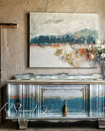 All Shabbed Out Original Painting and Matching Credenza by artist Quitta Allen.
